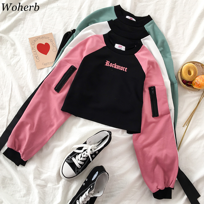 Wpherb Women Contrast Hoodies Jumper Sweatshirt Female Cropped Top Vintage Harajuku Letter Hooded Loose Pullovers Streetwear