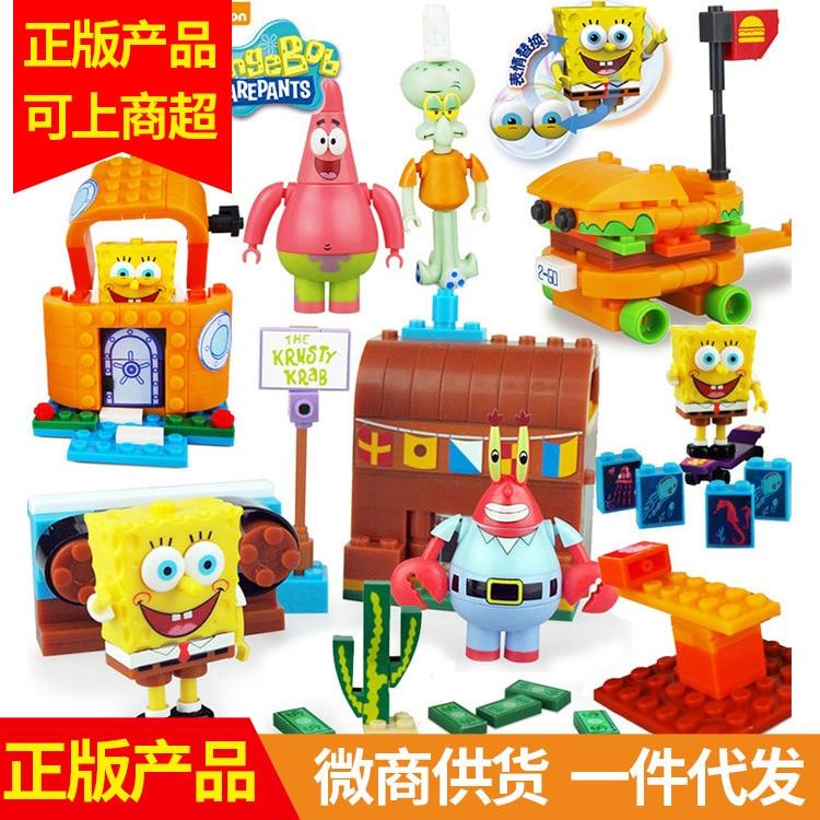 Inflooring Sheng Sp-s001 SpongeBob Patrick Children'S Educational Assembled Inserted Building Blocks Women's Toy