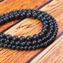 Black Turquoise Natural Stone Bead Round Loose Spaced Beads 15 Inch Strand 4/6/8/10/12mm For Jewelry Making DIY Bracelet