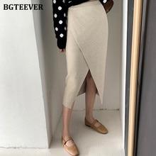 BGTEEVER Stylish Split High Waist Women Knitted Mid-length Skirt Autumn Winter Split Stretchable Sweater Pencil Skirt Femme 2020