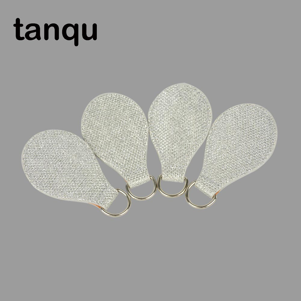 Tanqu 2 Pair 4 PCs Shiny Silvery Leather Drop End For Obag Handle Drop Attachment For O Bag Obasket DIY Bag