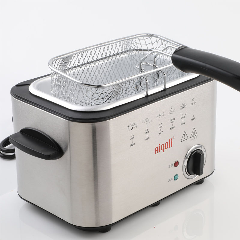 1.5L Stainless Steel Single tank Electric deep fryer smokeless French Fries Chicken grill multifunction MINI hotpot oven EU
