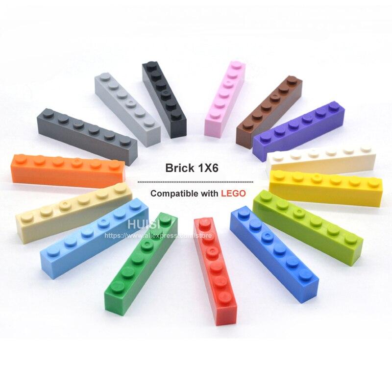 Enfants apprenant l'éducation jouets en plastique blocs de construction pièces ensemble éclairer bricolage jouet 1x6 briques compatibles avec Legoe 100 pièces/lot (lot de 100)