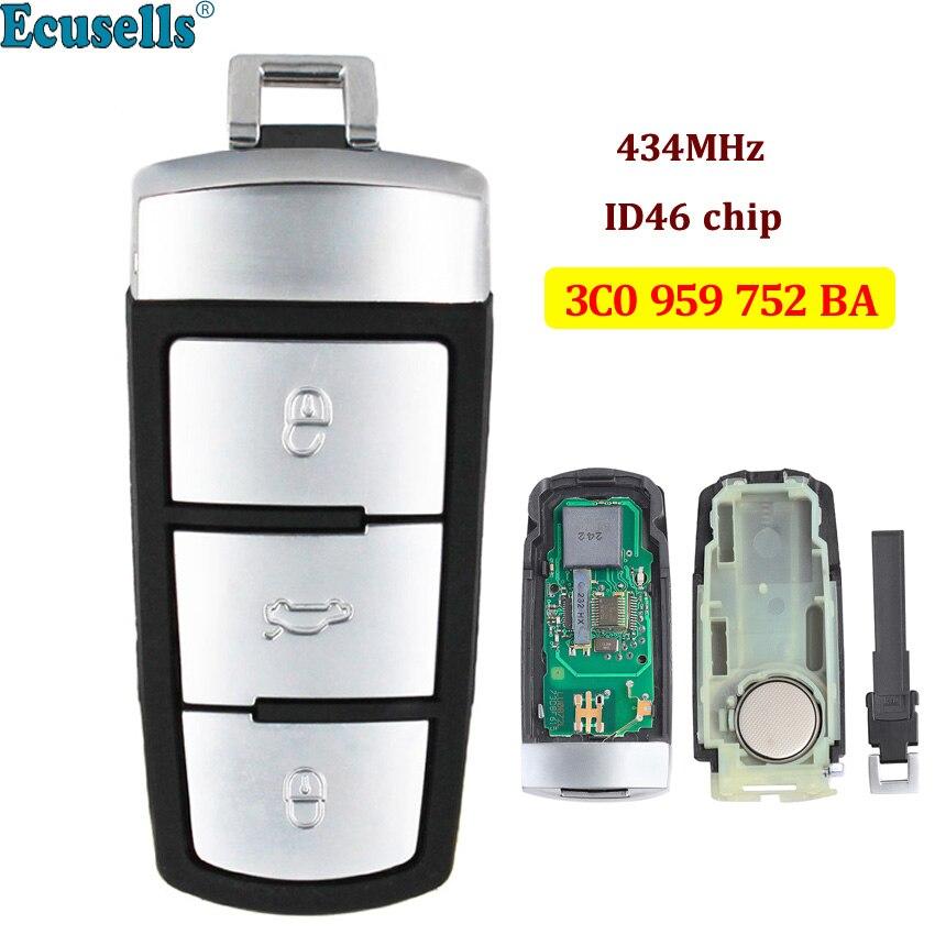 3 boutons 434MHz Smart télécommande porte-clés pour VW Volkswagen Passat CC Magotan B6 3C0 959 752 BA avec puce ID46 démarrage à un bouton