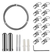 Curtain Drape Wire Rod Set with 12 Clips, Stainless Steel Picture Hanging Wire Clothesline Wire Multi-Purpose Set Hang Photos, N(China)