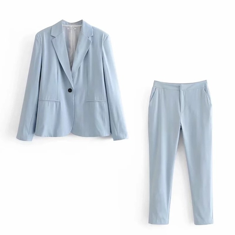 2019 Autumn Women's New Blazer Casual Pants Long Sleeve Women Clothing Pants Suits Elegant Office Suits for Women Solid Color