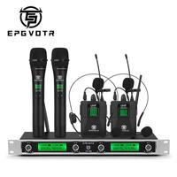 EPGVOTR 4 Channel UHF Wireless Microphone System EP 400 with with 2 Bodypack and 2 Handheld Microphone for Stage Church Party DJ