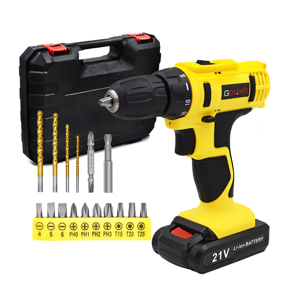 GOXAWEE 12V 21V Electric Screwdriver Mini Cordless Drill Wireless Power Driver Tools Rechargeable Lithium-Ion Battery Screwdrive