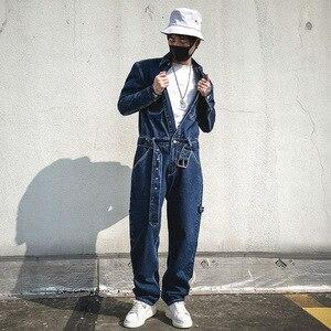 Мужской Цельный джинсовый комбинезон-шаровары, комбинезон для мужчин, винтажный Модный уличная одежда в стиле хип-хоп, повседневный комбин...