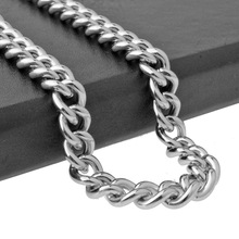 цена на Hip Hop Stainless Steel Jewelry Men Curb Link Chain Punk Statement Women Chain Long Necklace Rock Rapper Chain Charm Gift