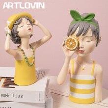 ARTLOVIN Creative Sunny Girl Figurine Summer Home Decorations Resin Modern Yellow Girl Sculptures  Warm Room Decor Elegant Woman