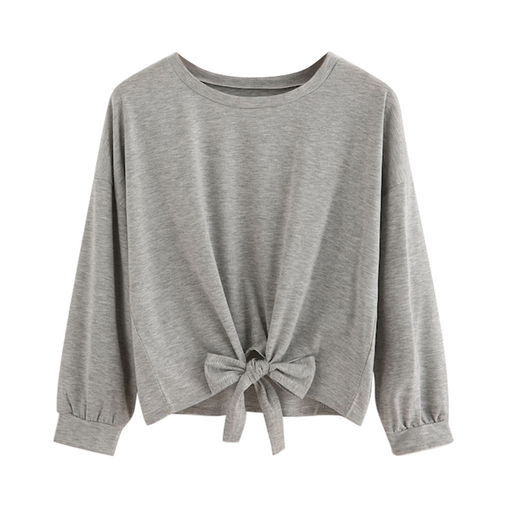 Solid Color Round Neck Long Sleeve Knotted Tie Top Women Casual Long Sleeve Bow Knot Front Tops O-neck Sweatshirt #YL10