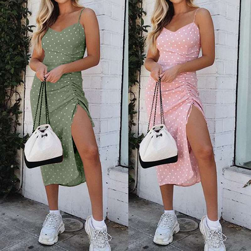 S-5XL Celmia Bohemian Summer Dress Women Sexy Strapless Drawstring Bodycon Vestidos Robe Sleeveless Polka Dot Beach Sundress 7
