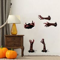 Halloween Wall Sticker Scary Simulation Blood Hands Home Wall Decor PVC Novelty Self adhesive Murals
