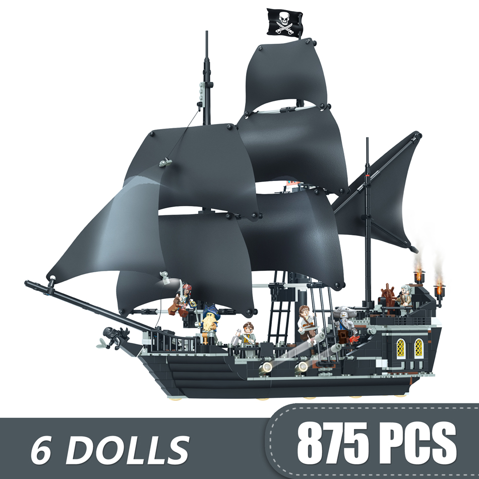 875PCS Building Blocks Toys Compatible Legoinglys The Black Pearl Ship Pirates of The Caribbean Gift for Girls Boys Children