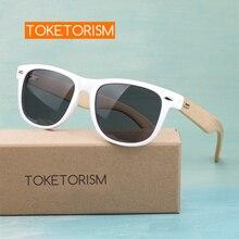 Toketorism trend 2019 bamboo arms uv400 white womens sunglasses retro men glasses 8201