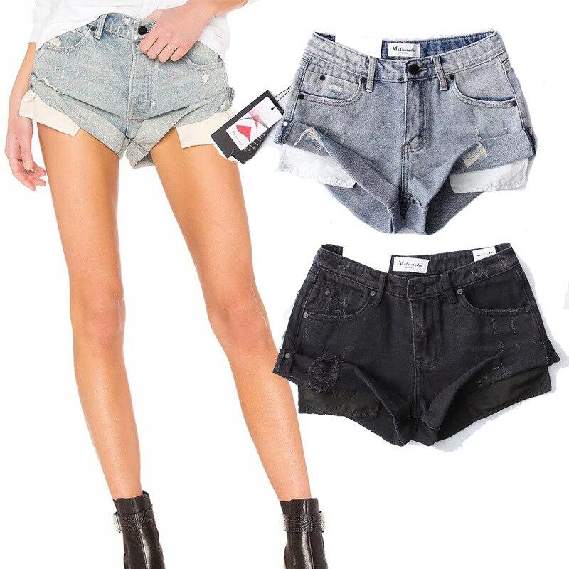 Hot Pants European and American Women's Retro Washed Wear-White Hemmed Denim Shorts