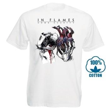 цена на Asian Size Print Rock Band In Flames Logo T-Shirt Short Sleeve O-Neck Tshirt For Men And Women Hcp4313