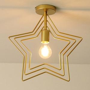 Image 5 - Creative Pentagram Iron Industrial Wind Ceiling Light Retro Circle E27 Black/Champagne Gold Lamp For Restaurant Bar Coffee Shop