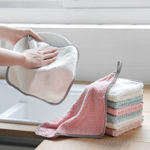1/10pcs Double-layer Absorbent Thicker Scouring Pad Rag, Non-stick Oil Dish Wash Cloth Towel Kitchen Tableware Cleaning Tools