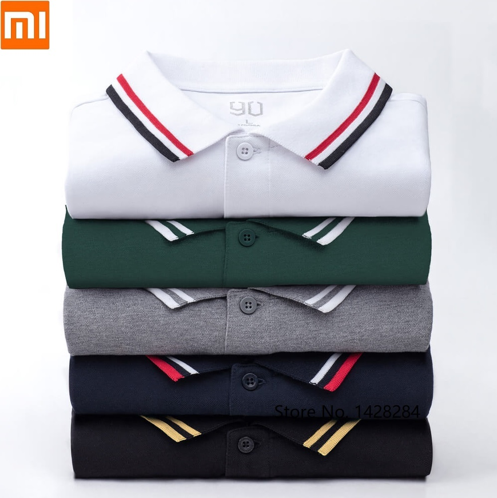 Xiaomi 90 FUN Man Fashion Trend Classic Lapel Short Sleeve Polo Shirt Cool Silky Summer Dress Outdoor Leisure Cotton Shirt