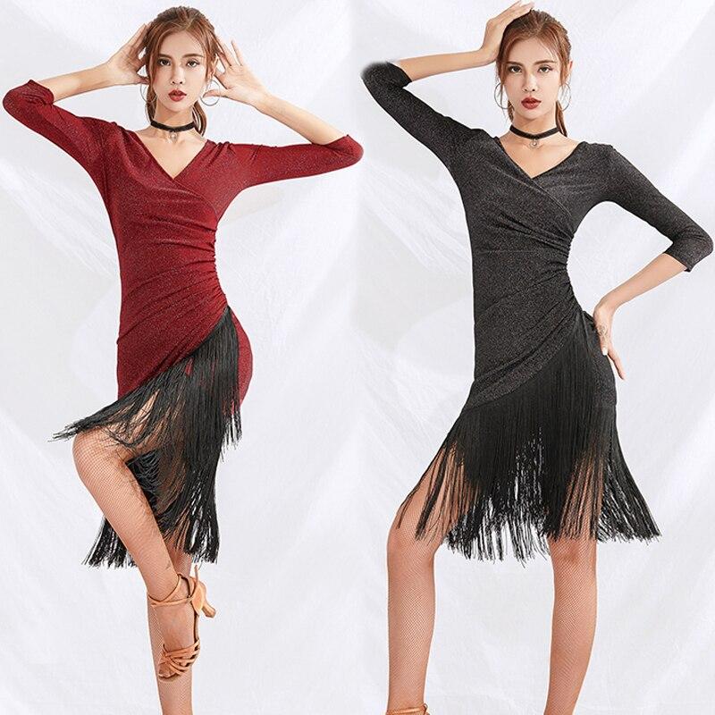 Latest Latin Dance Dress Sequin Fringe Dress Competition 2019 Gatsby Dress Adults Rumba Dress Black Latin Dresses Women BL2571