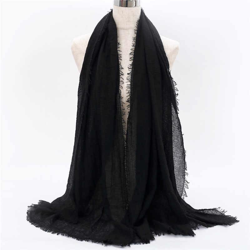 2019 mujeres burbuja algodón sólido islámico pañuelo de cabeza musulmán chales pashmina y envolturas foulard femenino viscosa maxi arruga nube hijab