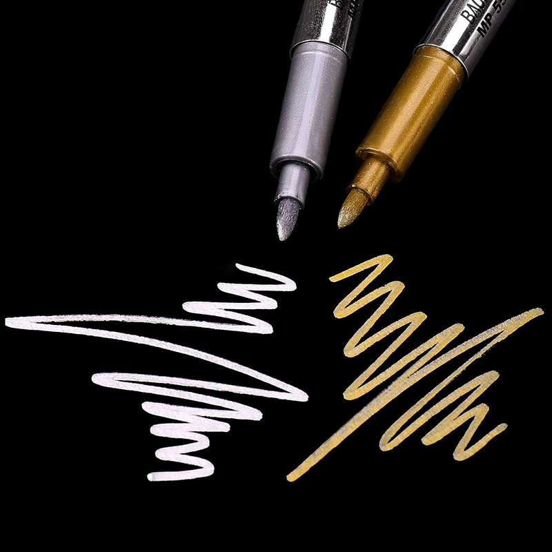 1.5mm Gold And Silver Metallic Art Marker Brush Pen Craftwork Pen For DIY Painting Pens Signature Greeting Card Craftwork Art