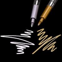 1.5mm ouro e prata metálico arte marcador caneta escova craftwork caneta para diy pintura canetas assinatura cartão craftwork arte