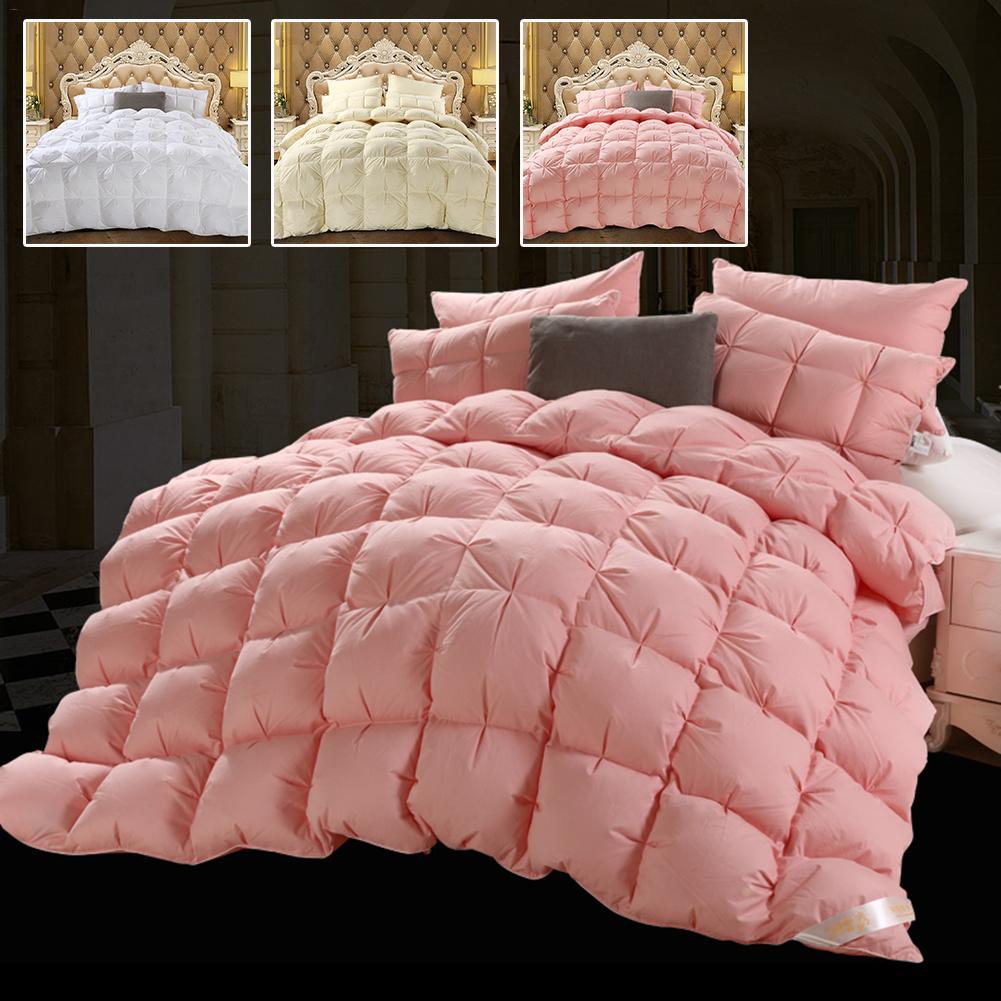 4D Home Hotel Custom Luxury Four Seasons Goose Down Duvet Core, Exquisite Sandwich Pleat Design Double Quilt Core Washable