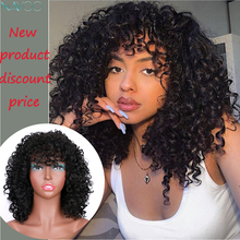 Short Afro Wigs for Black Women Kinky Curly Wig With Bangs Synthetic Wig Natural Black Hair For African Heat Resistant Fiber europe style heat resistant synthetic fashion black short kinky curly afro wig for women