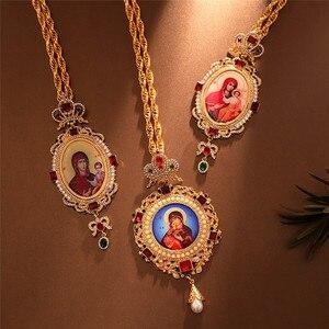 Image 4 - Ortodossa Croce Pettorale Collares Corona Religioso Icona bizantina Cattolica Crocifisso Collana Conferma Del Pendente Collana Lunga