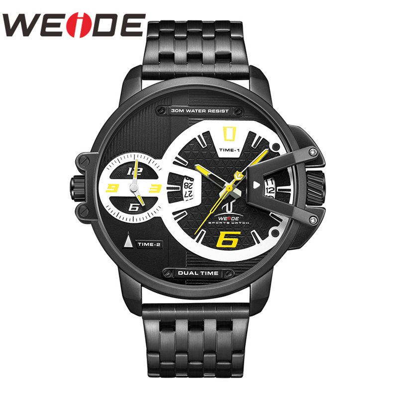 WEIDE Men Watch Military Stainless Steel Strap Auto Date Quartz Movement Analog Male Clock Hours Wrist Watch Relogio Masculino