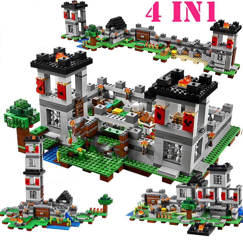 For Legoing Minecrafted Village Tree House The Mine Mountain 4-IN-1 Model Fit Legoings My World Figures Building Blocks Kid Toys 2