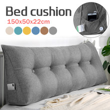 1.5m Long Triangular Bed Head Big Long Soft Removable Washable Cotton Linen Cushion Backrest Waist Support Pillow Home Office