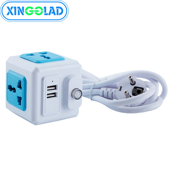EU Plug Multi Powercube Power Strip Universal 2 USB 4 Outlets Extender Electric 1.8M Cord Socket Network Filter of Home Office image