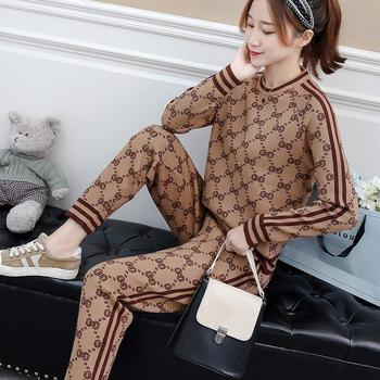 2021 New Fashion Casual Sports Suit Women Spring and Autumn Knit Suit Women's Casual All-match Two-piece Pants Women's Clothing 1