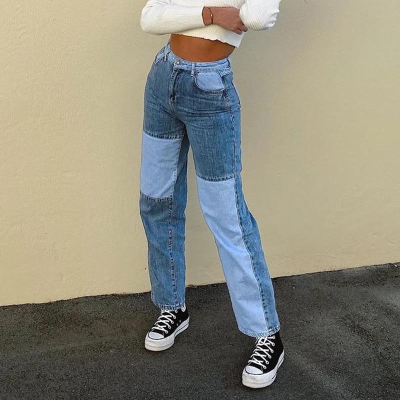 Streetwear Jeans Bodycon Mujer Moda Mujer Patchwork Harajuku Estetico Pantalones Jeans Para Mujeres De Alta Cintura Denim 90s Jeans Pantalones Vaqueros Aliexpress