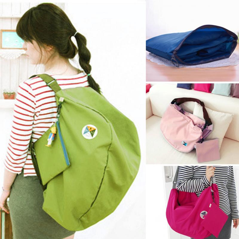 Student Bag 2 IN 1  Backpack  Solid Color Shoulder Bag Large Capacity Folding  Book Bags Women Travel Luggage Bags For Teenager