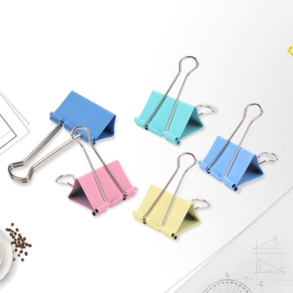 32mm 24 Pcs/lot Colorful Pure Metal Binder Clips Paper Clip Strong Clamping Force Long Tail Clips Supplies Tools