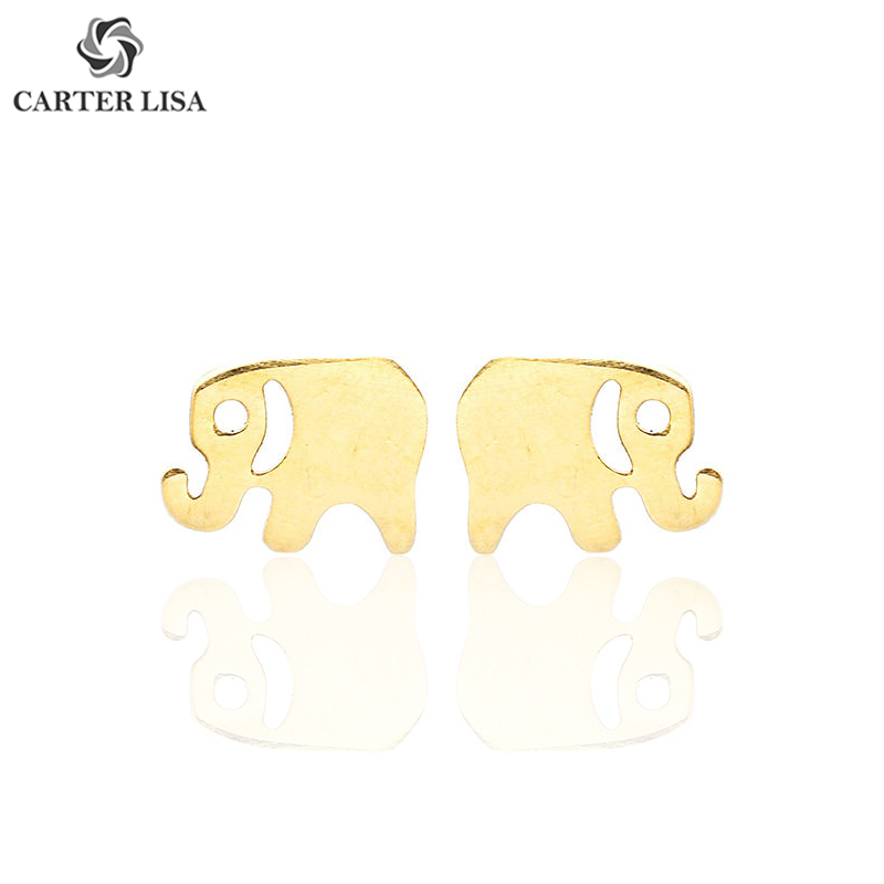 CARTER LISA Fashion Jewelry Minimalist Elephant Stud Earrings Simple Cute Animal Ear Studs Christmas Day Gift Pendientes