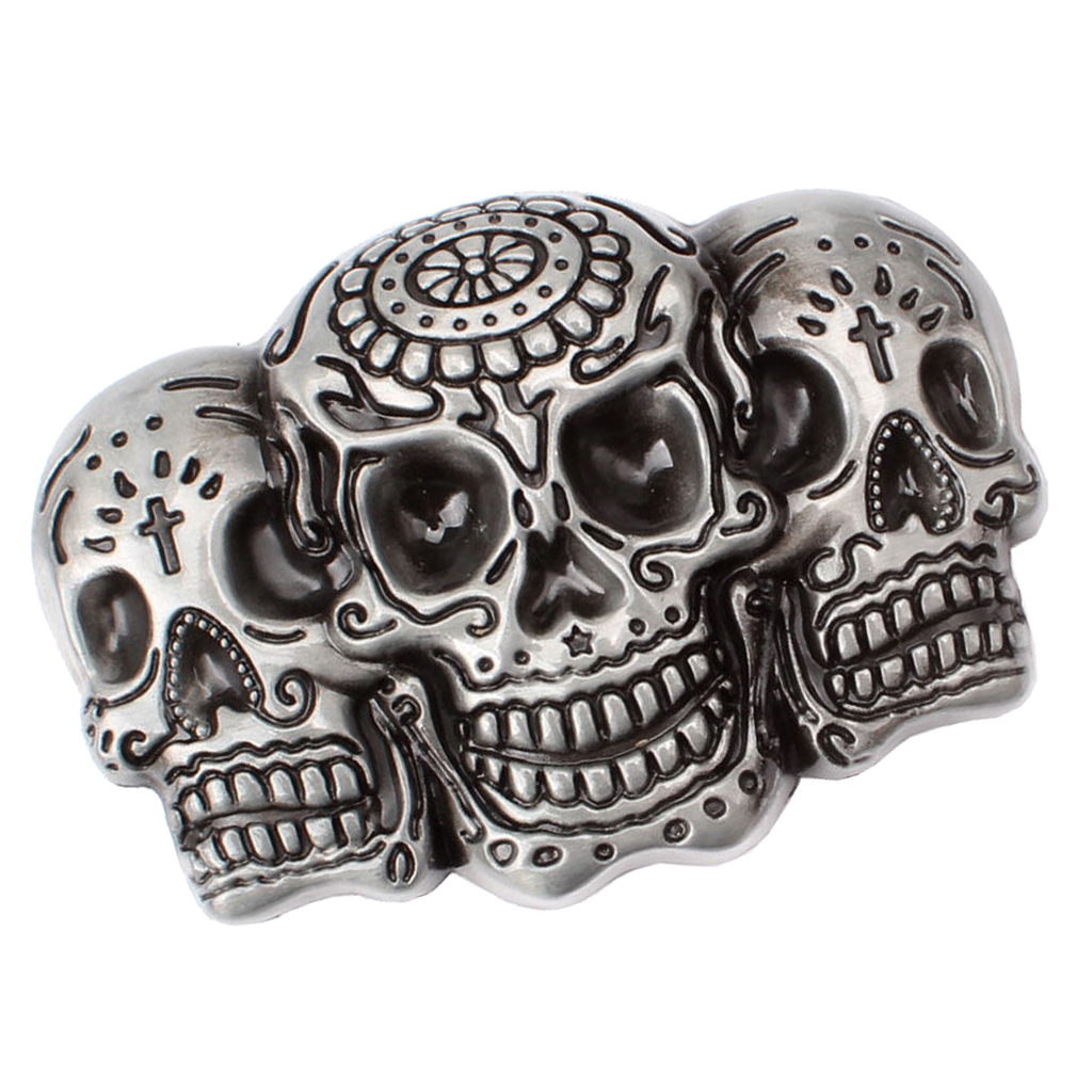 Men Punk Skull Belt Buckle Antique Silver 3D Skull Head Gothic Motorcycle Biker