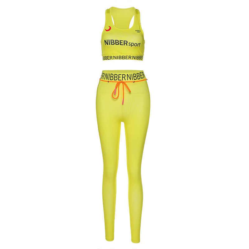 พิมพ์เสื้อผ้าออกกำลังกายสำหรับสตรีสูง Elastic Fitness Tracksuit Skinny StretchSportswear กีฬา Bra GYM Leggings GYM ชุด