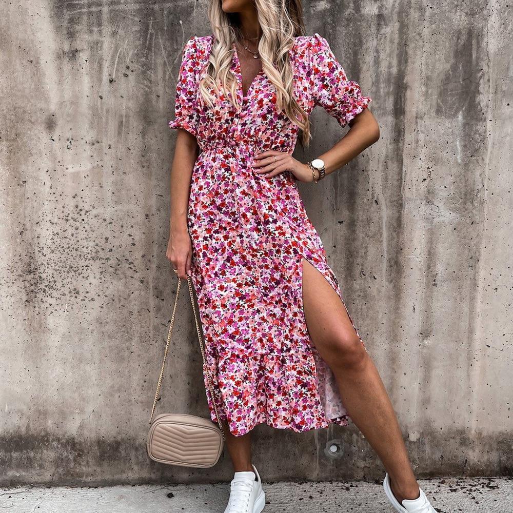 2021 Spring Floral Print Slim Long Shirt Dress Women V-neck Button Split Party Dress Autumn Long Sleeve Elastic Waist Maxi Dress 1