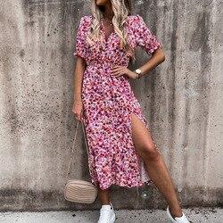 2021 Весна Цветочный принт тонкий длинное платье-рубашка, женское платье с v-образным воротом, кнопка Разделение вечерние платье с длинными ру...