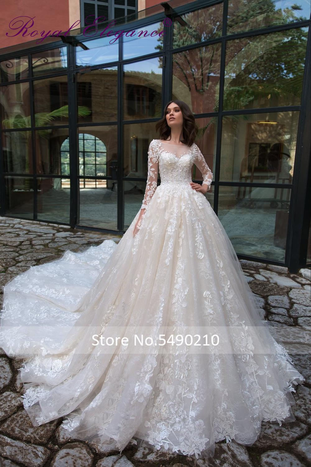 Royal Elegance Long Sleeve Wedding Dress Cathedral Ball Gown Scoop Neckline Vestido De Festa Flora Lace Appliques Wedding Dress