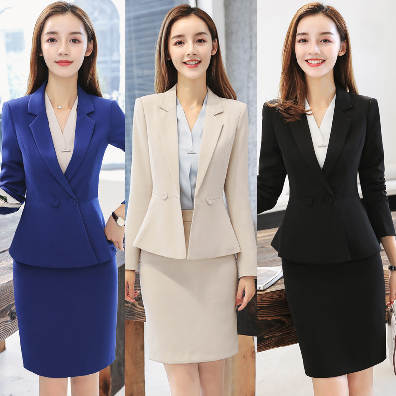 Apricot Formal Elegant Uniform Styles Blazers Suits Two Piece With Tops And Skirt For Ladies Office Work Wear Jacket Blazer Sets