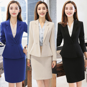 Apricot Formal Elegant Uniform Styles Blazers Suits Two Piece With Tops and Skirt For Ladies Office Work Wear Jacket Blazer Sets formal work wear uniform styles professional spring summer business suit vest skirt ol blazers women skirt suits outfits sets