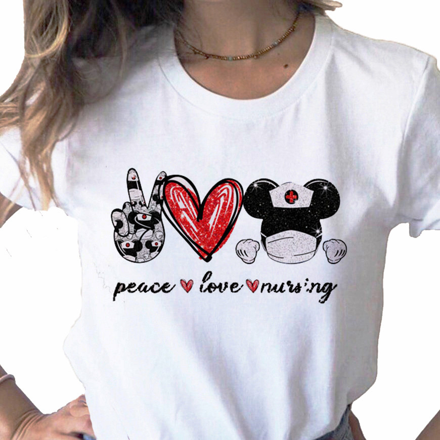 Peace Love Nurse Women T-shirt Harajuku T Shirt Women Short Sleeve Tee Tops Cute Tee Shirt 90s Girls Female Graphic T-shirts