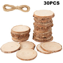 30pcs Assorted Size Natural Color Wood Slices Round Log Discs for Arts & Crafts Home Hanging Decorations Event(China)
